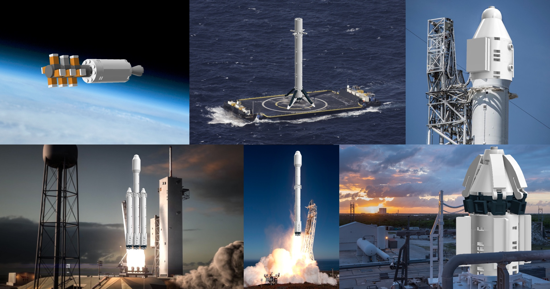 Collage of LEGO SpaceX assemblies
